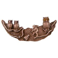 Antique Victorian Silver Brooch with Cherub, Owls, and a Bee