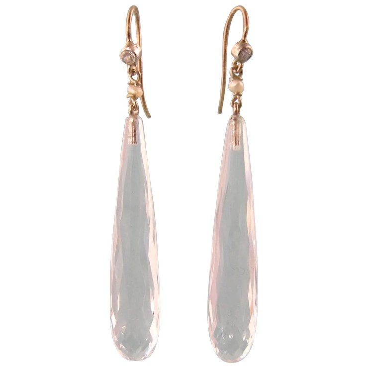 Antique Edwardian Rock Crystal Earrings With A Diamond And Seed Pearl In 14k Gold