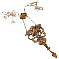 Antique Art Nouveau Mythical Beast Necklace by George N. Steere, a Rare Find
