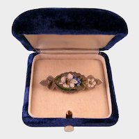 Antique Victorian Silver Pin with Enameled Lilies and Forget-Me-Nots, Exquisite