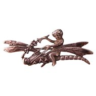 Sterling Silver Pin Brooch, Child Riding on Dragonfly
