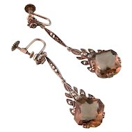 Art Deco Smoky Quartz Earrings with Marcasites, 935 Silver, Superb