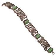 Art Deco Marcasite and Faux Jade Bracelet in 800 Silver, Ornamental