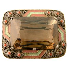 Art Deco Theodor Fahrner Brooch, Smoky Quartz, Coral, and Enamel, in Original Box