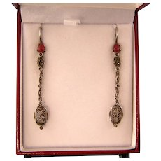 Art Deco Long, Slender Earrings with Carnelian Glass and Marcasites in Sterling Silver
