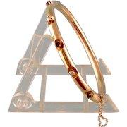 Antique 14k Gold Hinged Bangle Bracelet with Diamonds and Garnets
