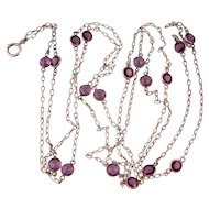 """Antique Victorian Guard Chain, Sterling Silver with Large Amethyst Pastes, Long, 64"""""""