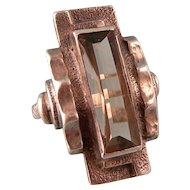 Art Deco Ring by Karl Karst, Germany, in Smoky Quartz, 935, Size 3-1/2