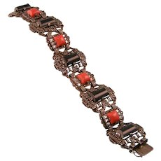 Superb Art Deco Coral, Onyx, and Clear Paste Bracelet with Marcasites, Sterling, Germany