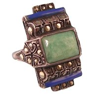 Art Deco Ring with Amazonite, Blue Enamel, and Marcasites, Sterling, Germany