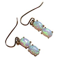 Vintage Double Opal Earrings in 9ct Gold, Fiery Blue-Green