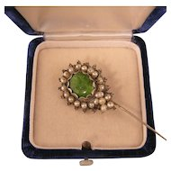 Gorgeous Antique Stickpin with Green Glass and Faux Pearls