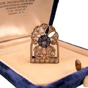 Art Deco Dazzling Paste Dress Clip, Signed Knoll and Pregizer, 935 Silver