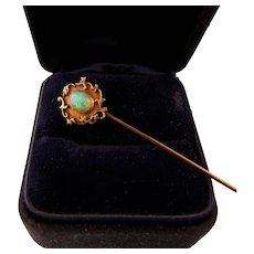 Antique Victorian Fiery Opal Stickpin, 14K Gold and 10K Gold