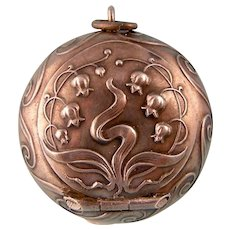 Antique Art Nouveau Round Pill Box Pendant, Sterling Silver with Gold Interior, English Bluebells
