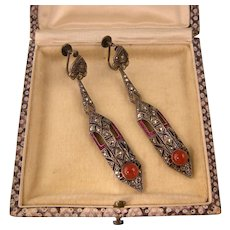 """Art Deco Superb German Earrings with Carnelian, Rose Paste and Marcasites, 2-1/2"""""""