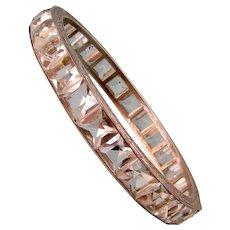 Art Deco Clear Paste Bangle Bracelet, Sterling Silver, Huge Stones