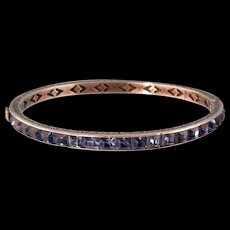 Art Deco Faux Sapphire Bangle Bracelet in Sterling Silver