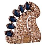Art Deco Dress Clip, Knoll and Pregizer, Faux Sapphires and Diamonds, 935 Silver