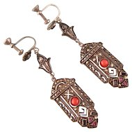 Art Deco Dangling Marcasite Earrings with Natural Coral, Onyx, and Rose Paste