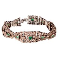 Art Deco Emerald and Diamond Paste Bracelet, Sterling Silver