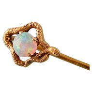 Antique Snake Stick Pin with Opal, 14K Gold