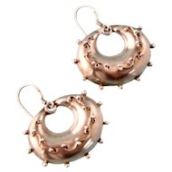 Plump Victorian Style Sterling Silver Hoop Earrings with Beading