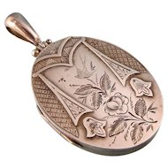 Remarkable Antique Victorian Sterling Silver Locket with Ornate, Distinctive Engraving