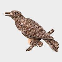 Art Deco Knoll and Pregizer Paste Bird Brooch, Exquisite