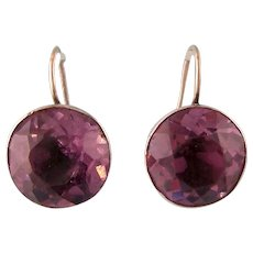 Antique Georgian Earrings, Large Amethyst Pastes, in Silver and Gold