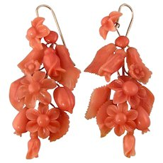"""Antique Victorian Lavish Natural Coral Earrings, 2"""""""
