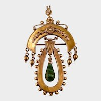 Gorgeous 14K and Malachite Antique Victorian Brooch Pendant