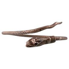 Antique Victorian Snake Bracelet with Garnet Eyes, Sterling Silver