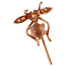 14K Antique Victorian Insect Stick Pin, Moonstone Orb with Pearls