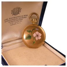 Antique Round Locket Pendant with an Enameled Flower in Gold Fill