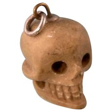 Antique Carved Stone Skull, Charm or Pendant