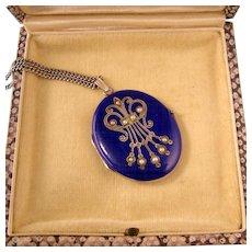 Antique Victorian Cobalt Blue Enamel Locket with Seed Pearls, Sterling