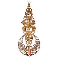 "Antique Fob Pendant, 4-3/8"", Coral Celluloid and Green Rhinestones"