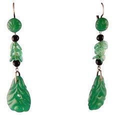 """Art Deco Dangling Green Glass Earrings, Faux Jade, 2-1/2"""""""