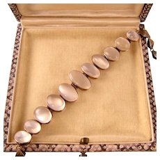 "Antique 9ct Gold Moonstone Bracelet, Eleven Stones, 7-1/2"" Sizable"