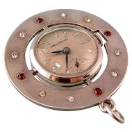 Retro Deco Pennino Watch Pendant with Bright Pastes, 1940s, in Sterling Silver