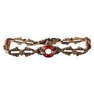 Art Deco Carnelian and Marcasite Ornate Bracelet in Sterling Silver