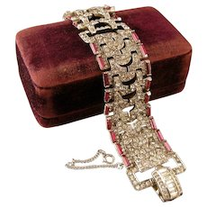 Glorious Mazer Ruby and Diamond Paste Bracelet, Wide and Dazzling