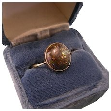 18K Gold Antique Opal Ring, Size 9.5