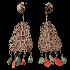"Art Deco Chinese Dangling Earrings with Coral and Turquoise, Large, 2-1/2"", Pierced Posts"