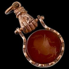 Antique Victorian Clasped Hand Fob with Carnelian Roman Soldier Intaglio