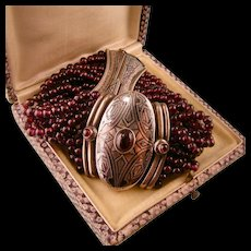 Antique Bracelet with Garnets and Niello, Large, Elaborate