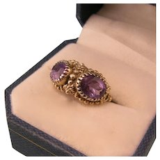 Antique 14k Gold Ring,  Two Amethysts