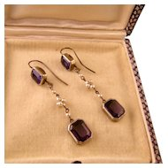 Edwardian Amethyst Paste and Faux Pearl Dangle Earrings