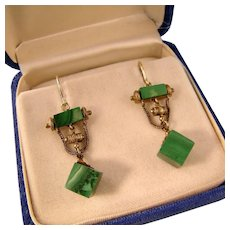 Victorian 14k Gold and Malachite Earrings, Ornate